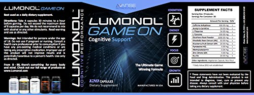 Lumonol Game On (120ct): The #1 Brain-Booster Engineered for The Complex Needs of Elite Gamers. All Natural and Powerful.