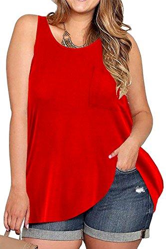 VOGRACE Womens Plus Size Tank Top Loose Sleeveless T-Shirt Tunic Shirt XL Red