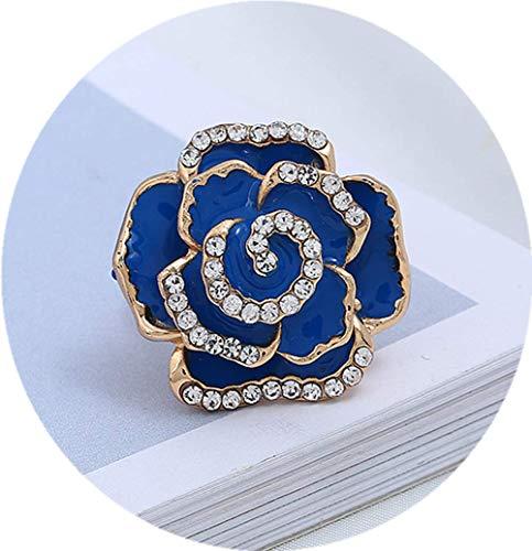 Dwcly Rose Flower Ring for Women Vintage Enamel Flower Rings Adjustable Wrap Ring (Blue)