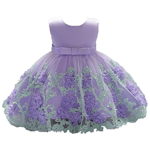 Infant Baby Little Girls Dress, Flower Print Sleeveless Princess Formal Birthday Party Tutu Dress 0-18M (Purple, 6-12 Months)