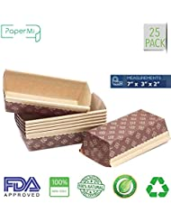 """Bakeware Paper Loft Pan Disposable Siliconized Baking Loft Mold for Baking 25ct, All Natural FDA Approve, Microwave Oven Freezer Safe Providing Beautiful Display For Baked Goods (7""""x3""""x2)"""