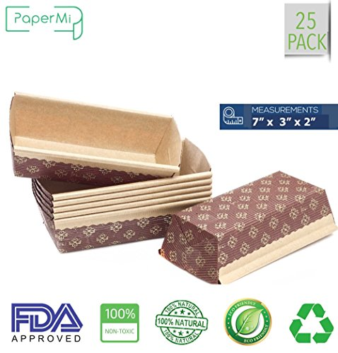"""Bakeware Paper Loft Pan Disposable Siliconized Baking Loft Mold for Baking 25ct, All Natural FDA Approve, Microwave Oven Freezer Safe Providing Beautiful Display For Baked Goods (7""""x3""""x2'') by PaperMi"""