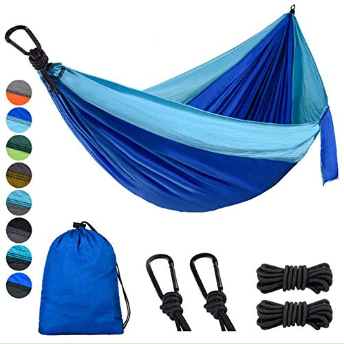 Lifeleads Outdoor Camping Hammock-Nylon Single Portable Parachute Lightweight for Outdoor or Indoor Backpacking Travel Hiking (Sky Blue & Navy Blue, Single)