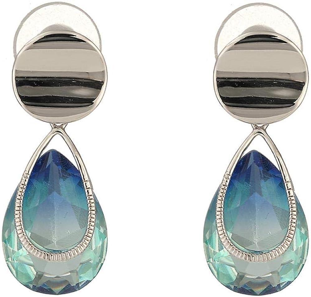 925 Pendientes De Botón De Plata, Piedras Preciosas De Cristal Degradado, Exquisita Caja De Regalo, 3.2 Cm * 1 Cm,Pendientes Mujer