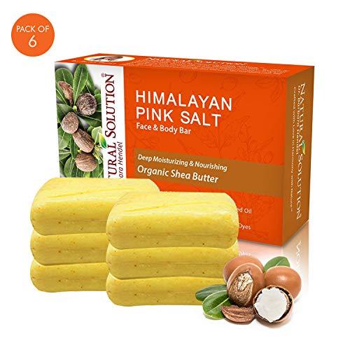Natural Solution Himalayan Pink Salt Soap Bar- Shea Butter,(6-PK)