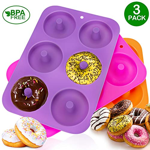 - KLEMOO 3-Pack Donut Baking Pan, Silicone, Non-Stick Mold, Bake Full Size Perfect Shaped Doughnuts to Sweeten Your