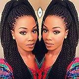 Geyashi Hair 22 Inch 6 Packs/Lot 1B Black Color 30 Strands/Pack 2S Senegalese Twist Crochet Hair Braids High Temperature Fiber Braiding Hair Extensions(1B Black Color)