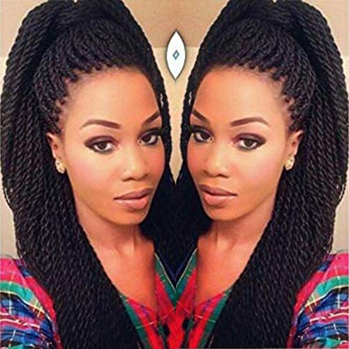 Geyashi Hair 22 Inch 6 Packs/Lot 1B Black Color 30 Strands/Pack 2S Senegalese Twist Crochet Hair Braids High Temperature Fiber Braiding Hair Extensions(1B Black Color)