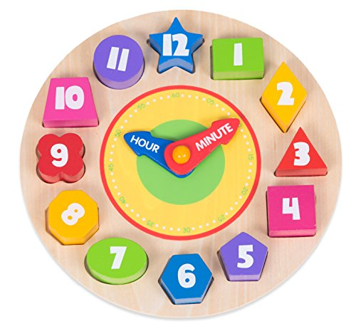 Clock Hands Puzzle - Eddo Wooden Clock Puzzle - Sorting Colors, Shapes and Numbers