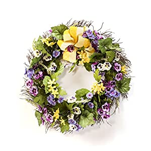 Petals - Pansy & Dianthus Silk Flower Wreath - Handcrafted - Bright, Vibrant Colors - Amazingly Lifelike - 20 x 20 x 4 Inches 107