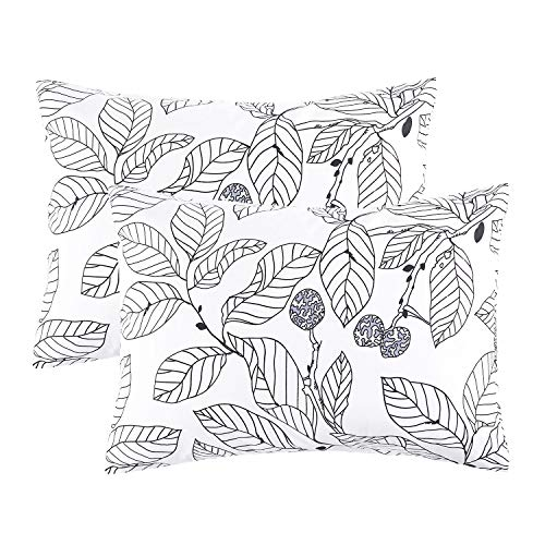(Wake In Cloud - Pack of 2 Pillow Cases, 100% Cotton Pillowcases, Black Tree Branches Leaves Pattern Printed on White (Standard Size, 20x26 Inches))