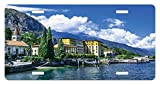zaeshe3536658 Italy License Plate, The Panoramic Landscape of Lake Como Mountains and Clouds Digital Image Print, High Gloss Aluminum Novelty Plate, 6 X 12 Inches.
