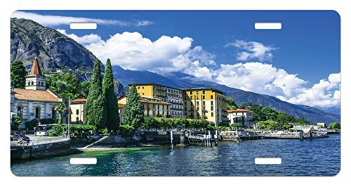 zaeshe3536658 Italy License Plate, The Panoramic Landscape of Lake Como Mountains and Clouds Digital Image Print, High Gloss Aluminum Novelty Plate, 6 X 12 Inches. by zaeshe3536658