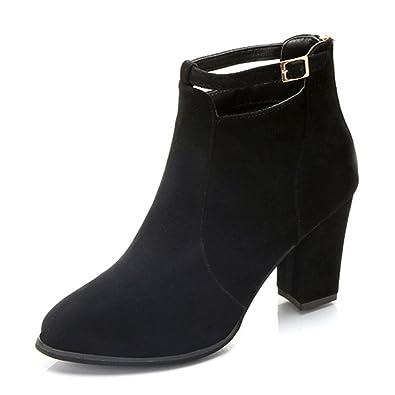 013a90f7b304 Crazboy Women Shoes Women Buckle Ladies Belt Faux Warm Boots Ankle Boots  High Heels Martin Shoes