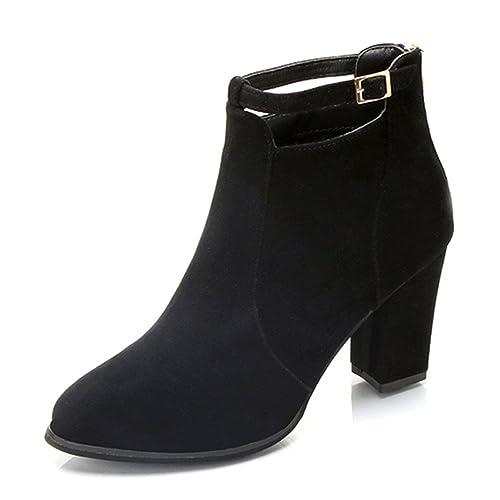 Beladla Zapatos De Mujer Botines Cortos TacóN Alto Scrub Cremallera Trasera Botines para Mujer Moda Hebilla Botas Navidad: Amazon.es: Zapatos y complementos