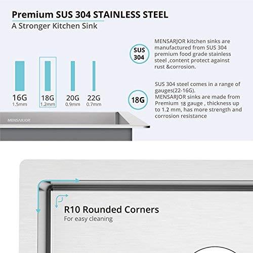 MENSARJOR 27-inch Undermount Single Bowl Kitchen Sink - 18 Gauge Handmade Stainless Steel Sink