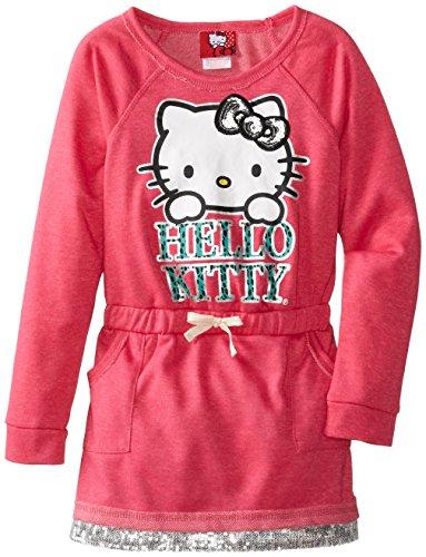 Hello Kitty Big Girls' Dress with Sequin Print, Fuchsia/Purple, 10