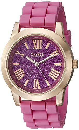 XOXO Women's XO8086 Rose Gold-Tone and Pink Watch