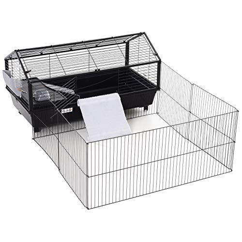 PawHut Rolling Metal Rabbit, Guinea Pig, or Small Animal Hutch Cage with Main House and Run, 47″ L