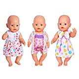 ebuddy doll Clothes 3 Sets Dress Bikini for most 14-16 inch New Born Baby Dolls,Alive Doll, Bitty baby dolls, and 18 Inch Dolls Such as American Girl,Our generations, Journey girl dolls
