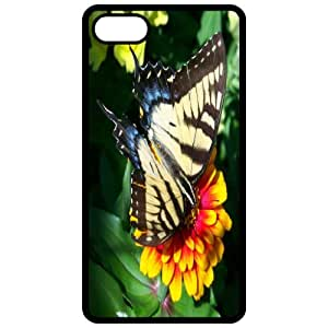 Butterfly On Flower - Image Black Apple Iphone 4 - Iphone 4s Cell Phone Case - Cover