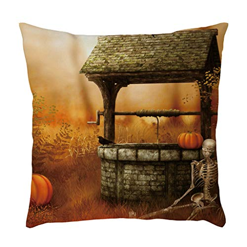 Jocome Throw Pillow Case,Halloween Home Decoration Pillow Cases Linen Pumpkin Ghosts Cushion Cover Couples Adult Unicorn Harley Quinn Spiderman Baby Easy Wonder -