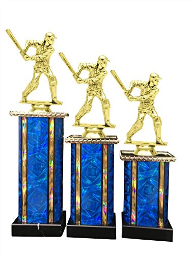 Male Cricket Award Trophy (3-Pack) 1st 2nd 3rd Place by Express Medals