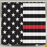 Thin Blue Line Flag New-2-01-01-01.png Bath Shower Curtain Fabric Bathroom Curtain Set With Hooks