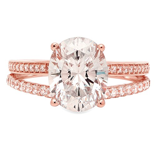 Brilliant Oval Cut Engagement Wedding Promise Anniversary Ring Bridal Jewelry in solid 14K Rose Gold For Women 2.3ct, 10