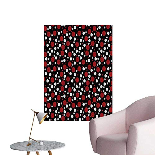 Wall Art Prints Black Retro 60s 70s Cartoon Snow Like Polka Dots Circles Rounds White Light for Living Room Ready to Stick on Wall,28