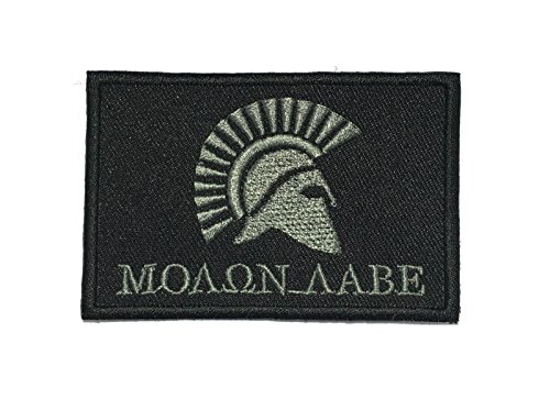 Molon LABE Morale patch / Velcro Patch/ Iron on Patch / 2x3 (IRON ON, GRAY)