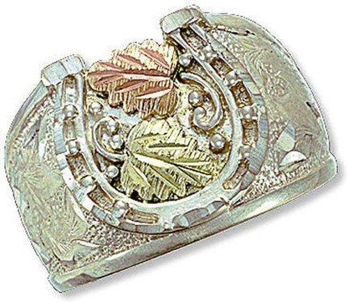 Black Hills Mens Bracelets - Landstroms Sterling Silver Men's Horseshoe Ring with 12k Gold Leaves - MRL02919
