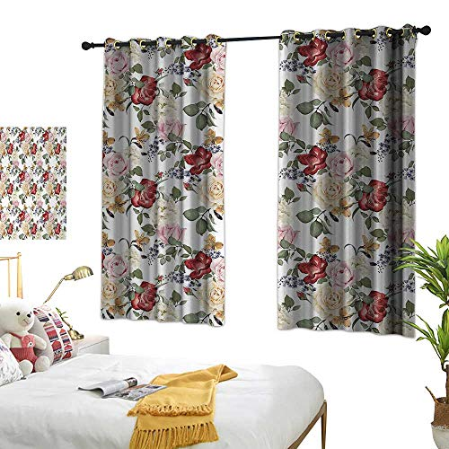 Anshesix Curtain for Kids Shabby Chic Summer Spring Season Buds Roses Lilacs Flowers Leaves Print W72 xL45 Light Pink Green Cream and Red Suitable for Bedroom Living Room Study,etc. ()