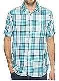 True Grit Men's Surf Check Short Sleeve Shirt Combed Cotton Double Light Blue Plaid Shirt