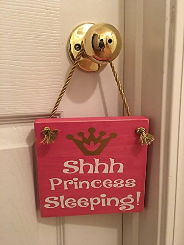 (Princess Sleeping Wooden Nursery / Girl's Room Door Sign)