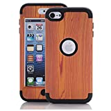 iPod Touch 6th Generation Case, iPod Touch 6 Case ,SAVYOU 3 in 1 Wood grain pattern Hybrid Hard Case Cover with Soft Silicone Inner Case for Apple iPod Touch 5/ 6(Black)