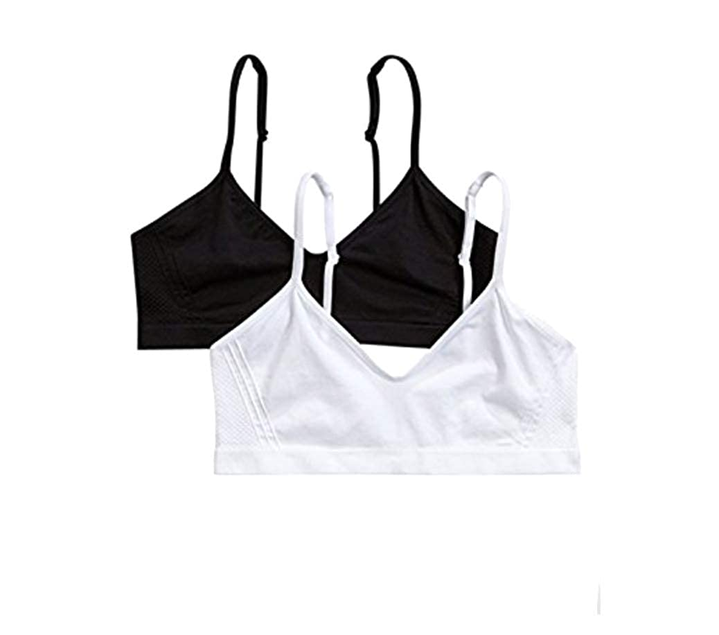 Justice Girls Every Day Bra 2 Pack Black /& White