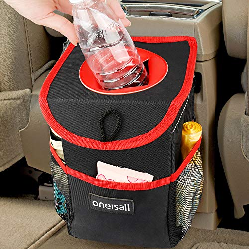 oneisall Car Trash Can with Lid,Waterproof & Leak-proof Car Garbage Can Holder,Portable In Car Trash Bag Hanging with Storage Pockets(Black&Red) by oneisall (Image #7)