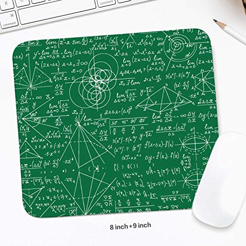 Black Custom Math Equations Geometry Green Backdrop Mini Non-Slip Base Pro Game Mouse Mats Work Desk Computer Accessories Laptop Mouse Pad 8x9 ()
