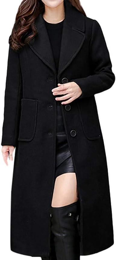 Womens Wool Coats Long Loose Autumn Overcoats Parka Coat Jackets Outwear Tops
