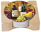 CounterArt Fruit & Wine Design Absorbent Coasters in Wooden Holder, Set of 4