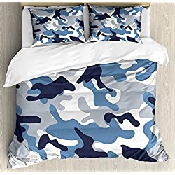Camouflage Duvet Cover Set Queen Size by Ambesonne, Illustration with Abstract Soft Colors Pattern Camouflage Design, Decorative 3 Piece Bedding Set with 2 Pillow Shams, Slate Blue Indigo Grey