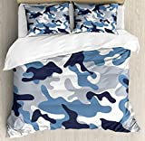 Camouflage Duvet Cover Set Queen Size by Ambesonne, Army Theme Image with Abstract Soft Color Commando Navy Military War, Decorative 3 Piece Bedding Set with 2 Pillow Shams, Slate Blue Indigo Grey