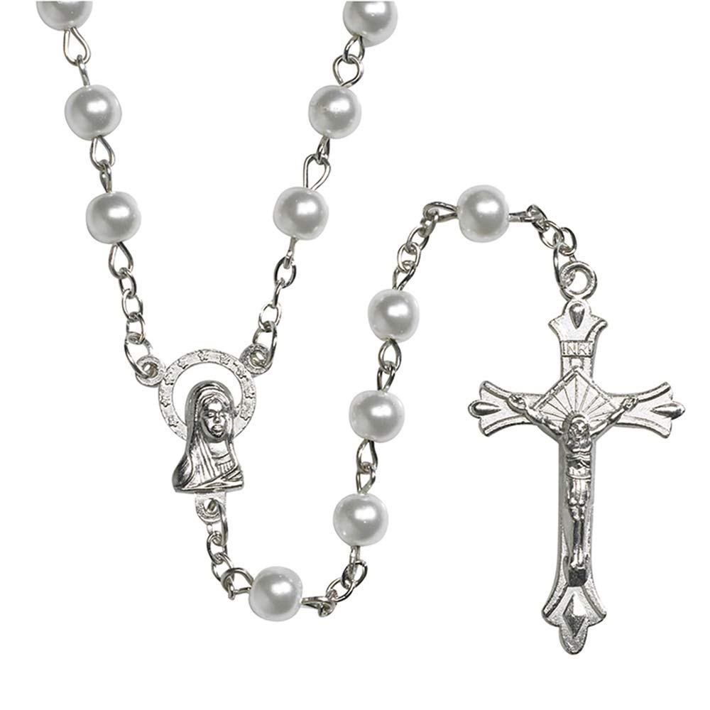 Girls First Communion White Imitation Pearl Rosary with Our Lady of Grace Centerpiece