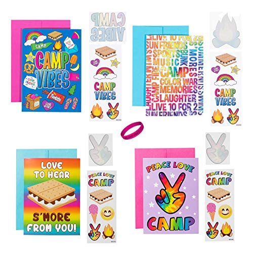 3C4G Kids Summer Camp Greeting Cards Set of 4 - Cards, Envelopes, Stickers, Tattoos and Wristband - Send a Note to Your -