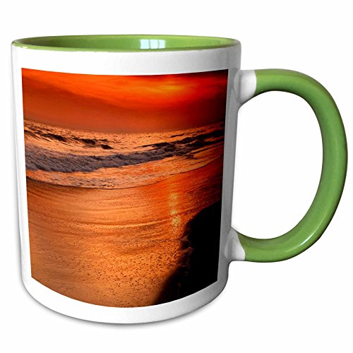 3dRose Danita Delimont - Sunsets - USA, New Jersey, Cape May. Sunset on ocean shore - US31 BJA0018 - Jaynes Gallery - 11oz Two-Tone Green Mug - Jersey New Shore Outlets