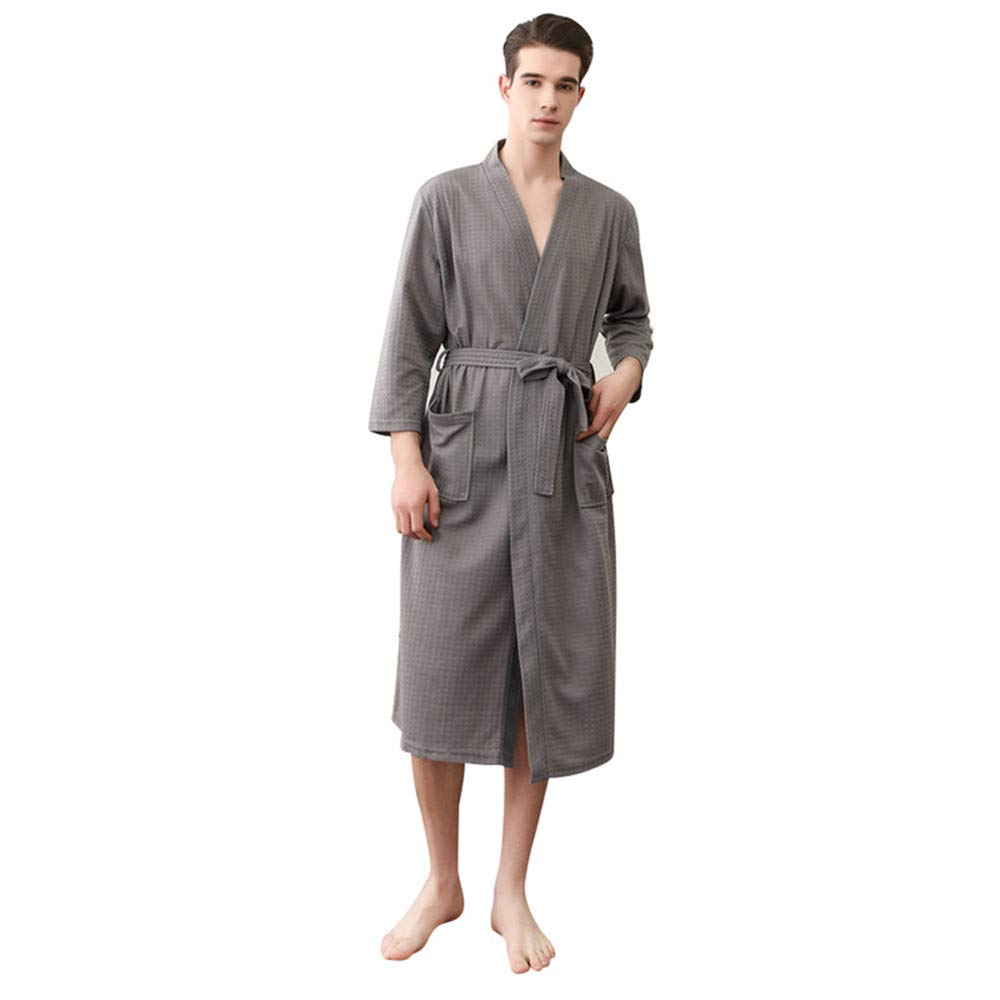 Pannow Unisex Waffle Bathrobe Cotton Lightweight Nightgowns Sleepwear Spa Robe