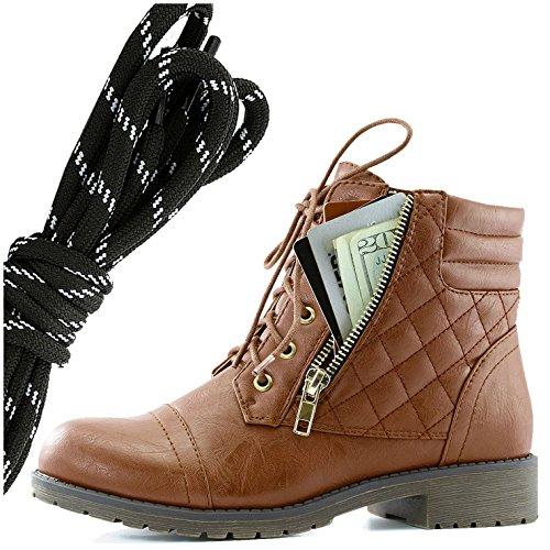 Dailyshoes Donna Militare Allacciatura Fibbia Stivali Da Combattimento Caviglia Alta Esclusiva Tasca Per Carte Di Credito, Tan Bianco Nero Pu