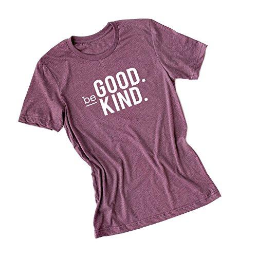 (Be Good. Be Kind.-Teacher Life Graphic Tee Shirt-Plum Crew-White Ink-Medium)