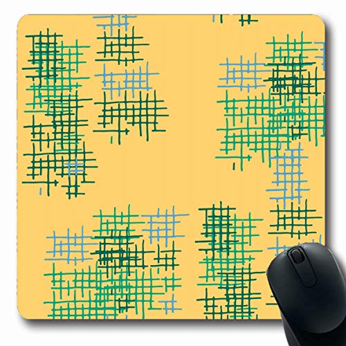 (LifeCO Computer Mousepad Scratched Check Lattice Abstract Pattern Green Hand Cross Crossing Drawn Dress Geometric Design Oblong Shape 7.9 x 9.5 Inches Oblong Gaming Non-Slip Rubber Mouse Pad Mat)